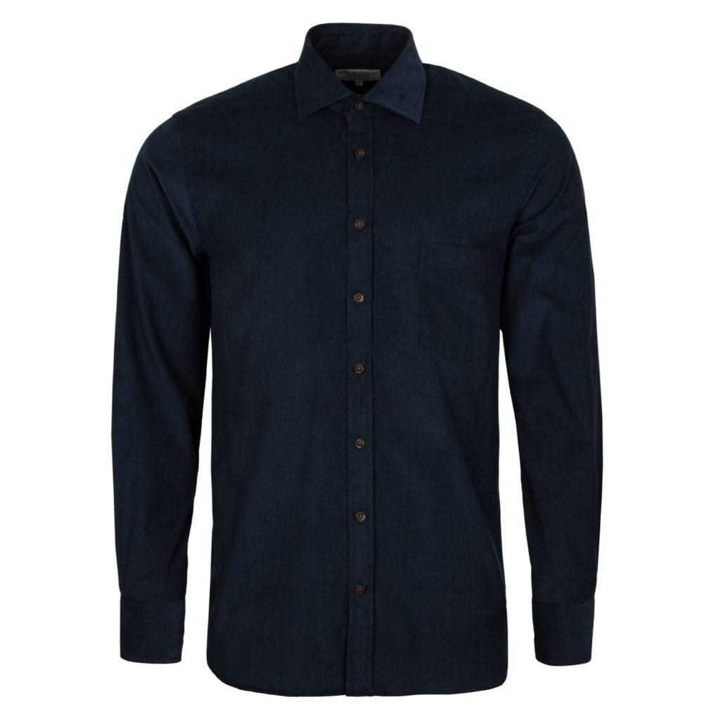 James Purdey Needle Cord Shirt Navy