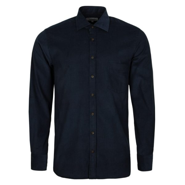 James Purdey Needle Cord Shirt Navy