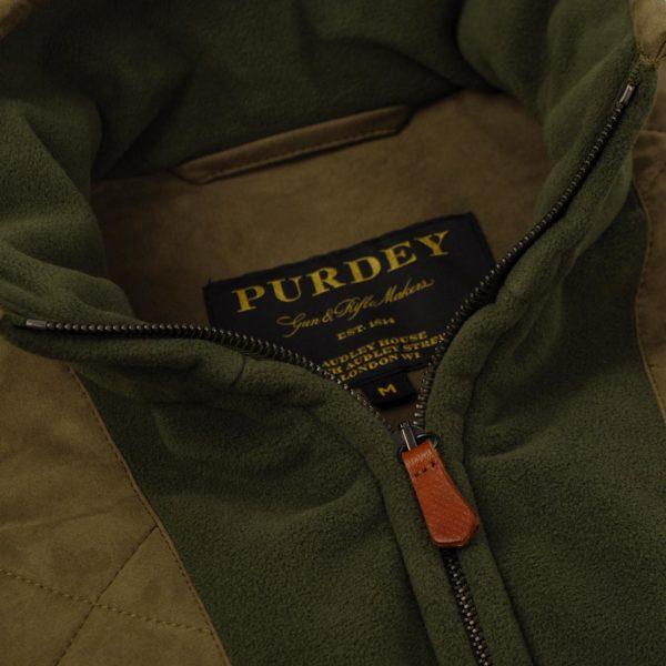 James Purdey Shetland Shooting Fleece Jacket Khaki Green