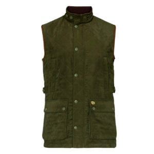 Alan Paine Felwell Quilted Waistcoat Dark Olive