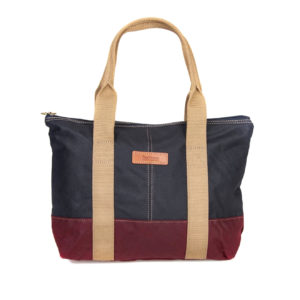 Barbour Ashridge Small Tote Bag Navy Red