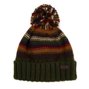 Barbour Harrow Stripe Beanie Hat Olive Mix