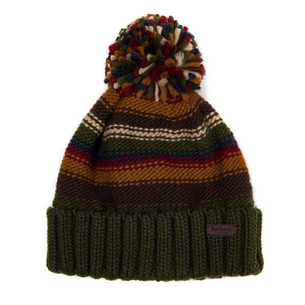 Barbour Harrow Stripe Beanie Hat Olive Mix
