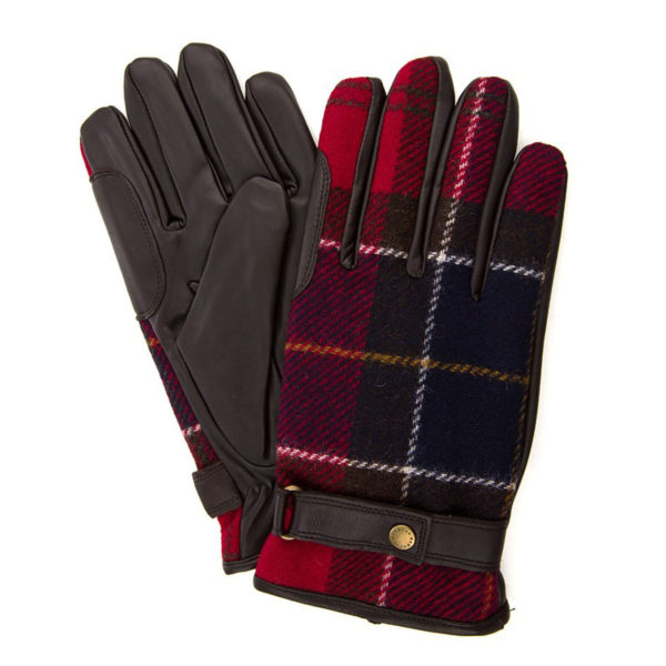 Barbour Newbrough Tartan Gloves Red Tartan