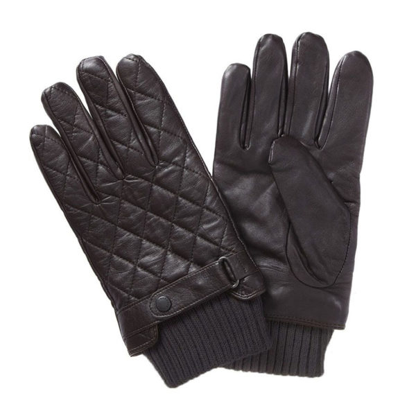 Barbour Quilted Leather Gloves Dark Brown
