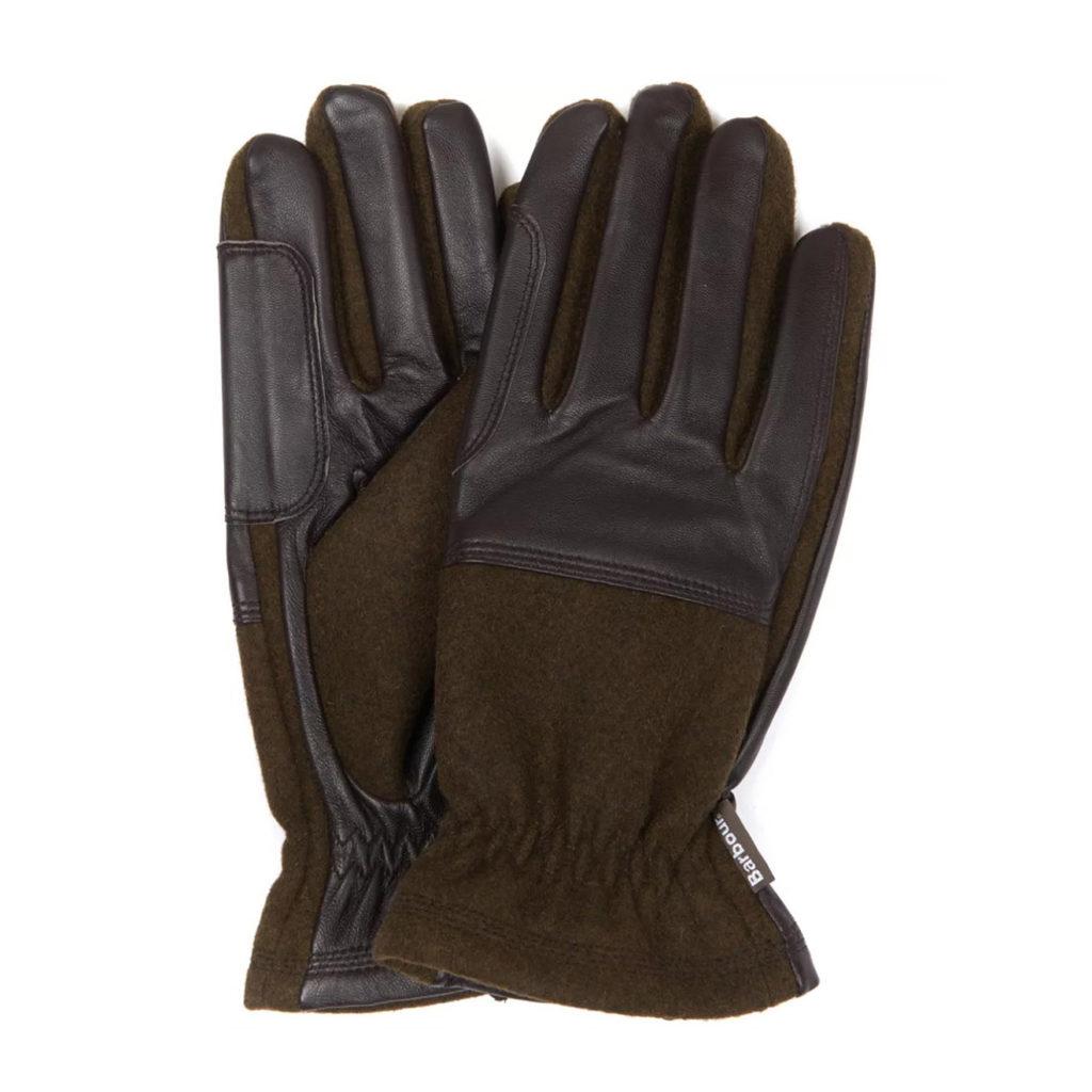 Barbour Rugged Melton Gloves Olive Brown