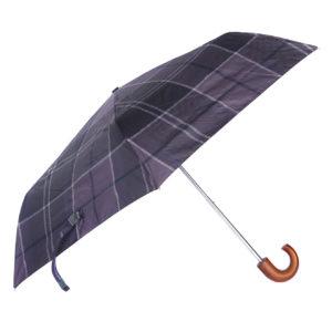 Barbour Tartan Mini Umbrella Black Grey