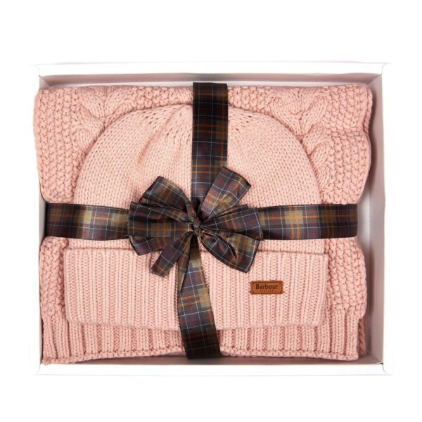 Barbour Womens Cable Hat Scarf Set Pink