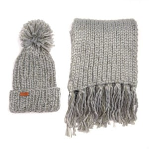 Barbour Womens Chunky Knit Hat Scarf Set Grey