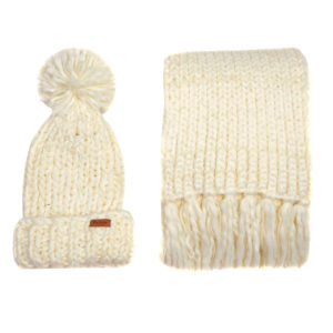 Barbour Womens Chunky Knit Hat Scarf Set Winter White