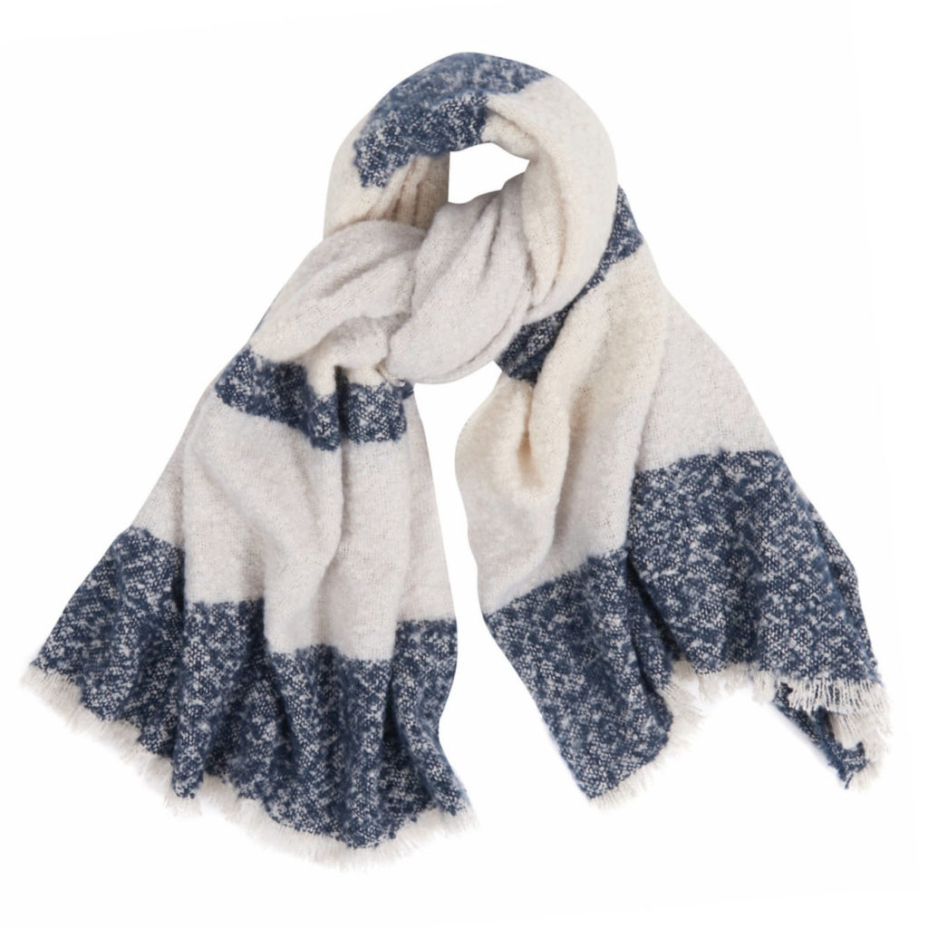 Barbour Womens Stripe Boucle Wrap Scarf Navy Ecru