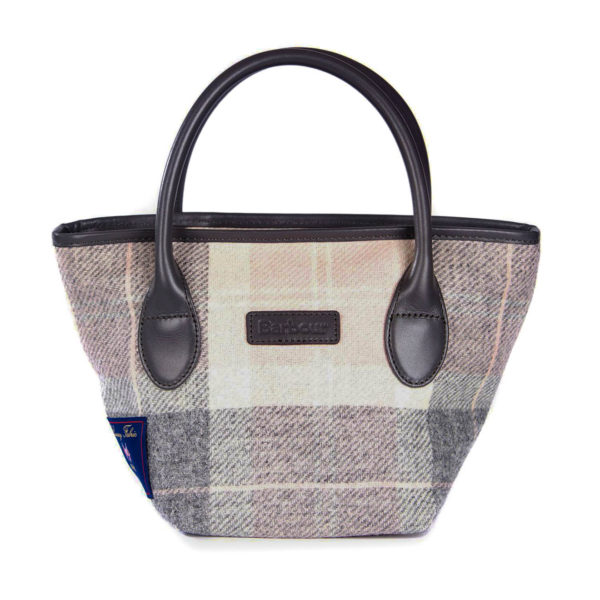 Barbour Womens Tartan Mini Tote Handbag Pink Grey