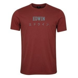 Edwin Japan T-Shirt Oxblood Red Garment Washed
