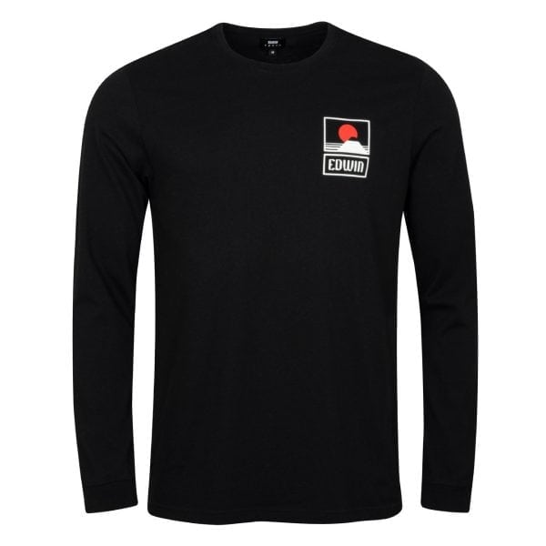 Edwin Sunset on Mount Fuji T-Shirt Black Garment Washed