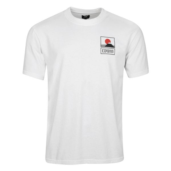 Edwin Sunset on Mount Fuji T-Shirt White Garment Washed