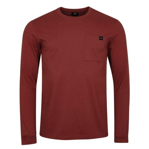 Edwin Trapper L/S T-Shirt Oxblood Red Garment Washed