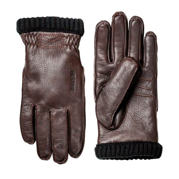Hestra Deerskin Primaloft Rib Gloves Dark Brown