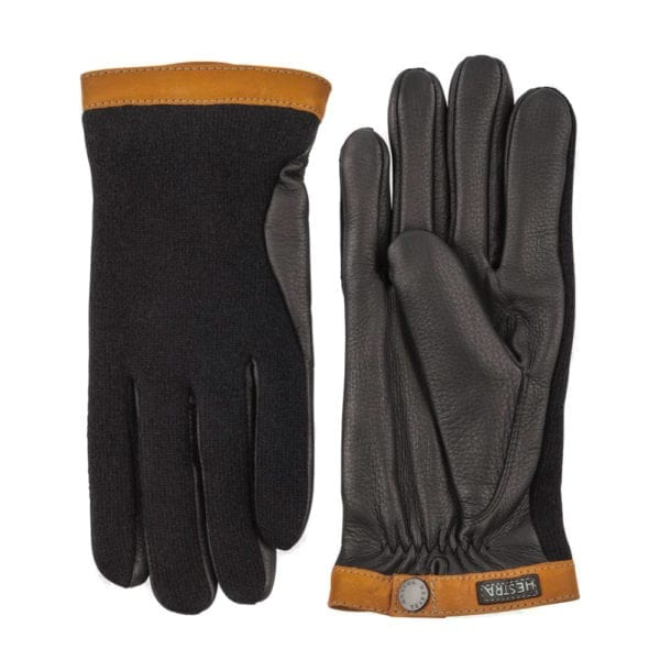 Hestra Deerskin Wool Tricot Gloves Black / Black