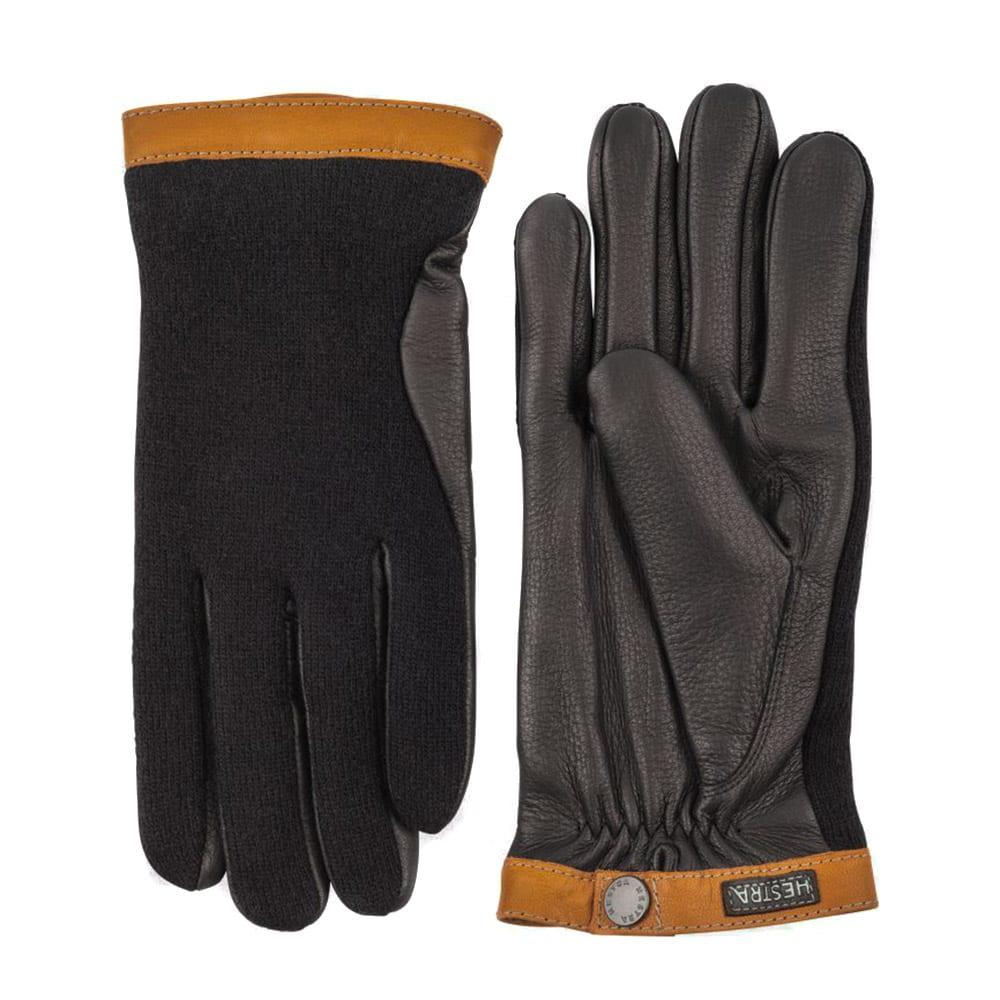 Hestra Deerskin Wool Tricot Gloves Black / Black
