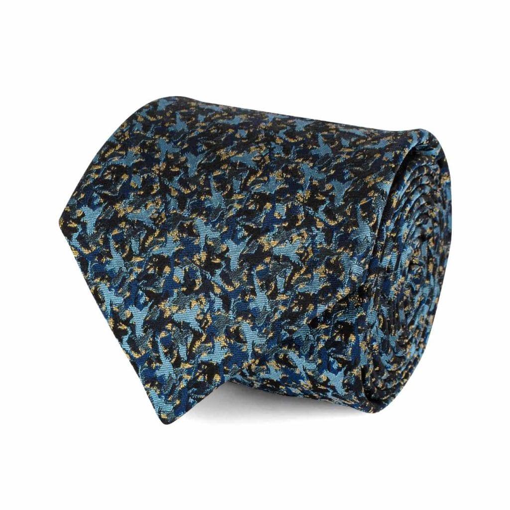 James Purdey Camoflage Birds Tie Blue