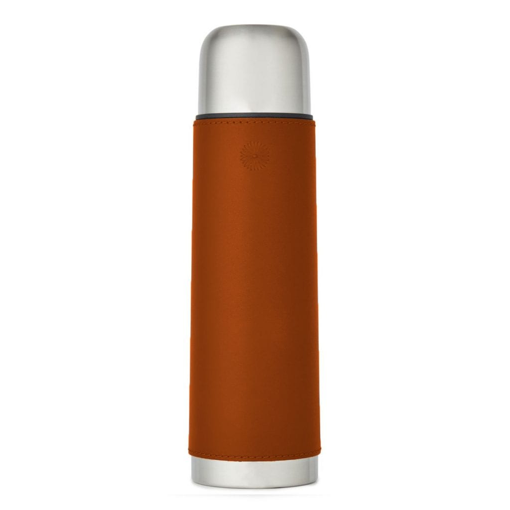 James Purdey Leather Covered Thermos Flask Tan