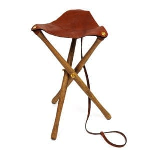James Purdey Leather and Oak Tripod Seat