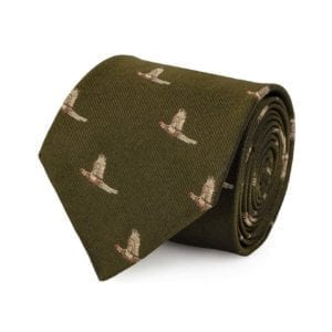 James Purdey Pheasant In Flight Tie Khaki