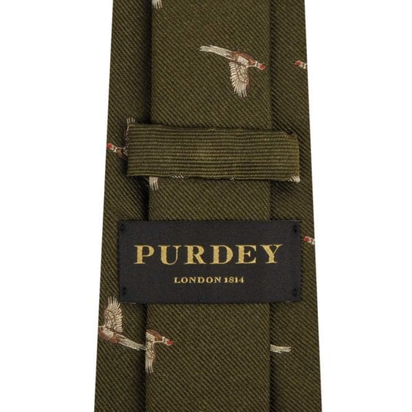 James Purdey Pheasant In Flight Tie Khaki