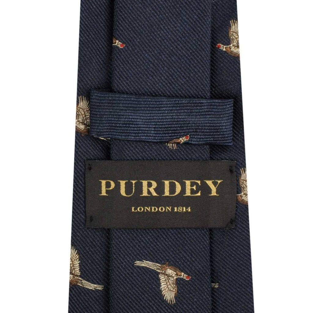 James Purdey Pheasant In Flight Tie Navy
