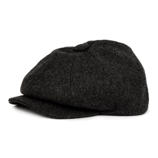 James Purdey Townton Tweed Cap Charcoal