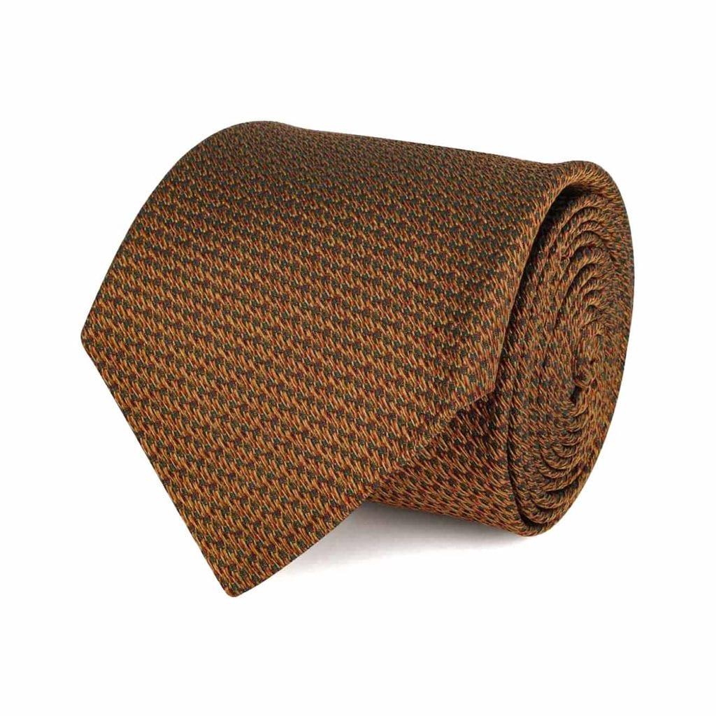 James Purdey Tweed Pattered Tie Gold