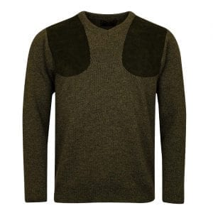 James Purdey V-Neck Marl Shooting Sweater Khaki Green