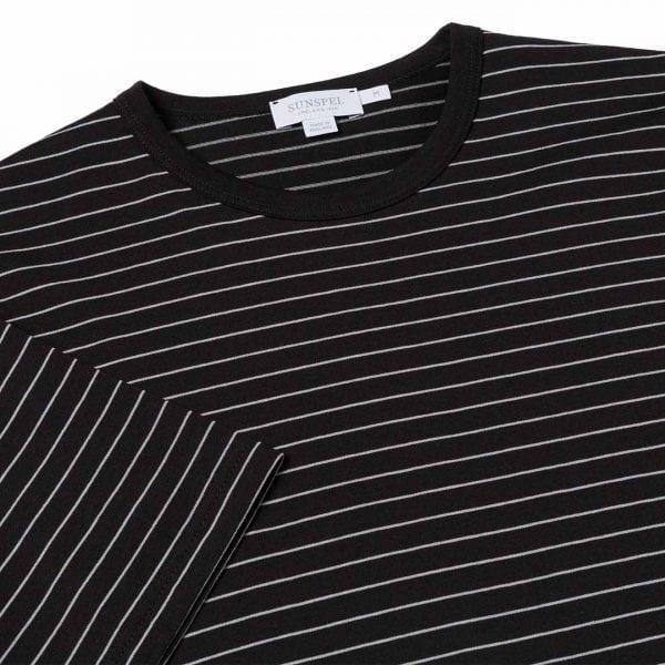 Sunspel Classic Crew T-Shirt Black / Light Grey Hairline
