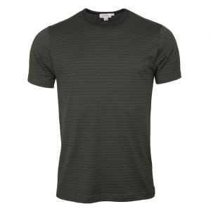 Sunspel Classic Crew T-Shirt Scots Green / Botiglia Green Hairline Stripe
