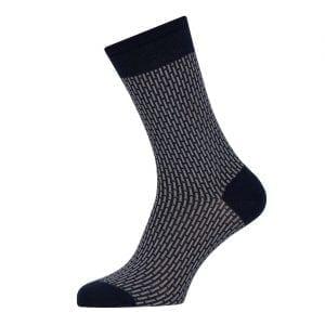 Sunspel Cotton Sock Navy / Stone Broken Stripe