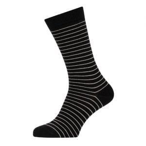 Sunspel Cotton Stripe Sock Black / Light Grey Hairline