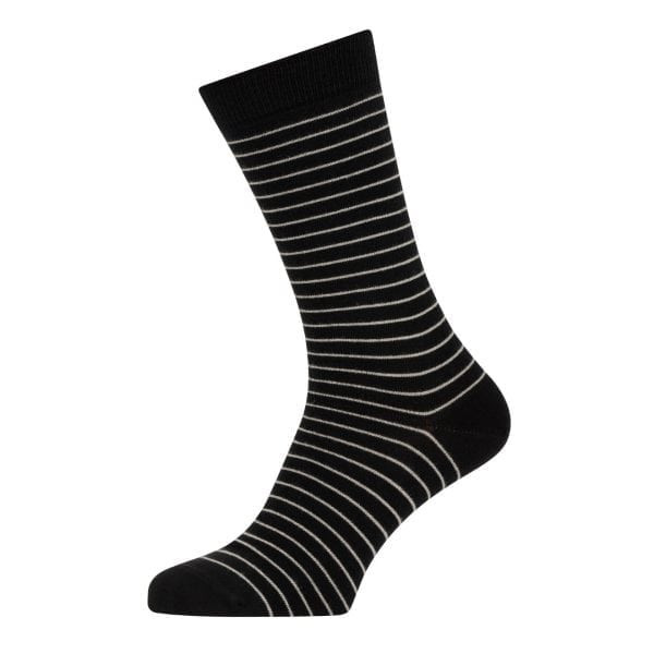 Sunspel Cotton Stripe Sock Black / Light Grey Hairline