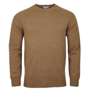 Sunspel Lambswool Crew Neck Knit Oatmeal Melange