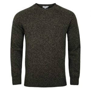 Sunspel Lambswool Crew Neck Knit Scots Green Mouline