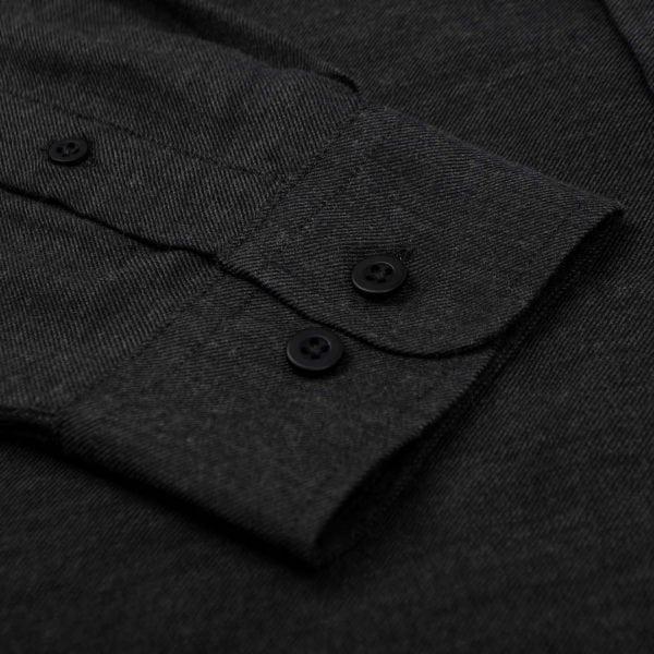 Sunspel Long Sleeve Brushed Cotton Shirt Charcoal