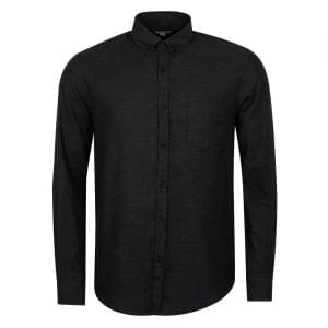Sunspel Long Sleeve Brushed Cotton Shirt Charcoal