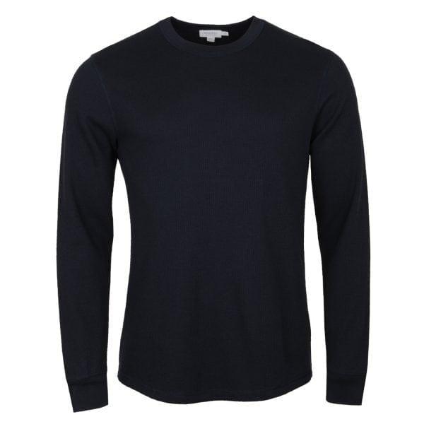 Sunspel Long Sleeve Crew Neck Waffle T-Shirt Navy