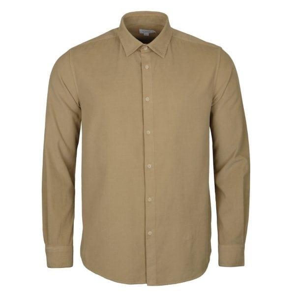 Sunspel Needle Cord Shirt Stone