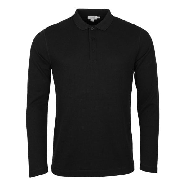 Sunspel Long Sleeve Waffle Polo Black