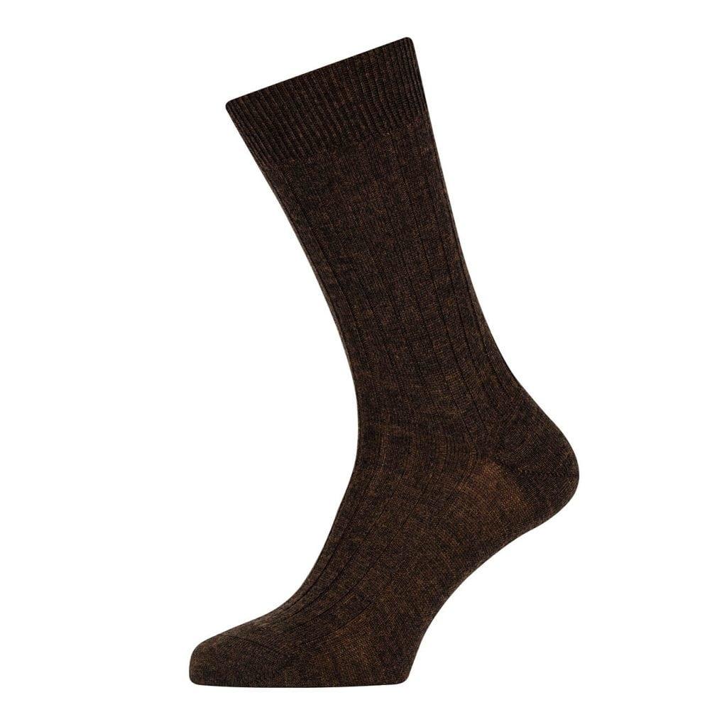 Sunspel Merino Rib Sock Mosto Brown