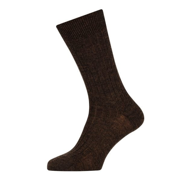Sunspel Merino Rib Sock Mosto Brown