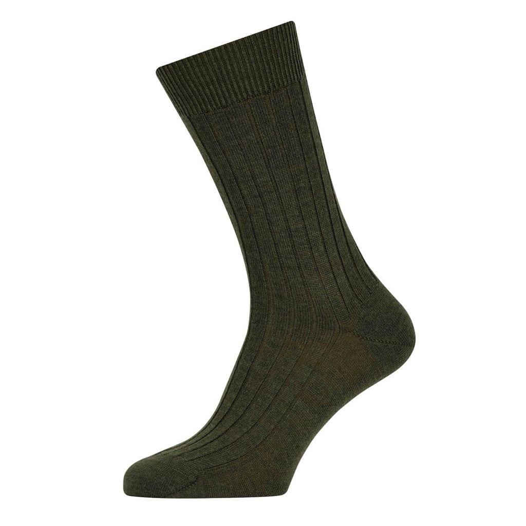 Sunspel Merino Rib Sock Scots Green
