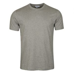 Sunspel Riviera Crew Neck T-Shirt Grey Melange