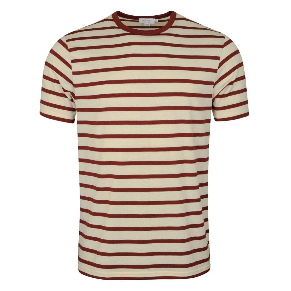 Sunspel Striped Crew Neck T-Shirt Ecru / GF Claret Breton