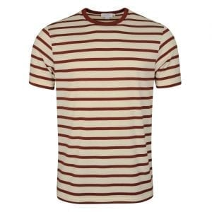 Sunspel Striped Crew Neck T-Shirt Ecru / GF Claret Breton
